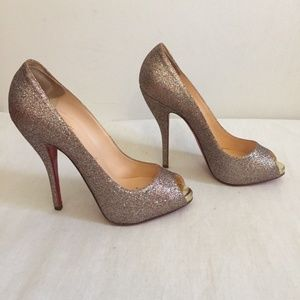 Christian Louboutin Shoes - CHRISTIAN LOUBOUTIN Glittered Peep Toe Size 37